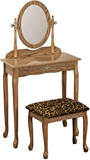 The Furniture Cove Vanity Oak Finish Queen Anne Style Make-Up Table with Mirror with Your Choice of an Animal Print Fabric Covered Bench Cushion - FREE Handheld Mirror Included (Leopard Large Cotton)