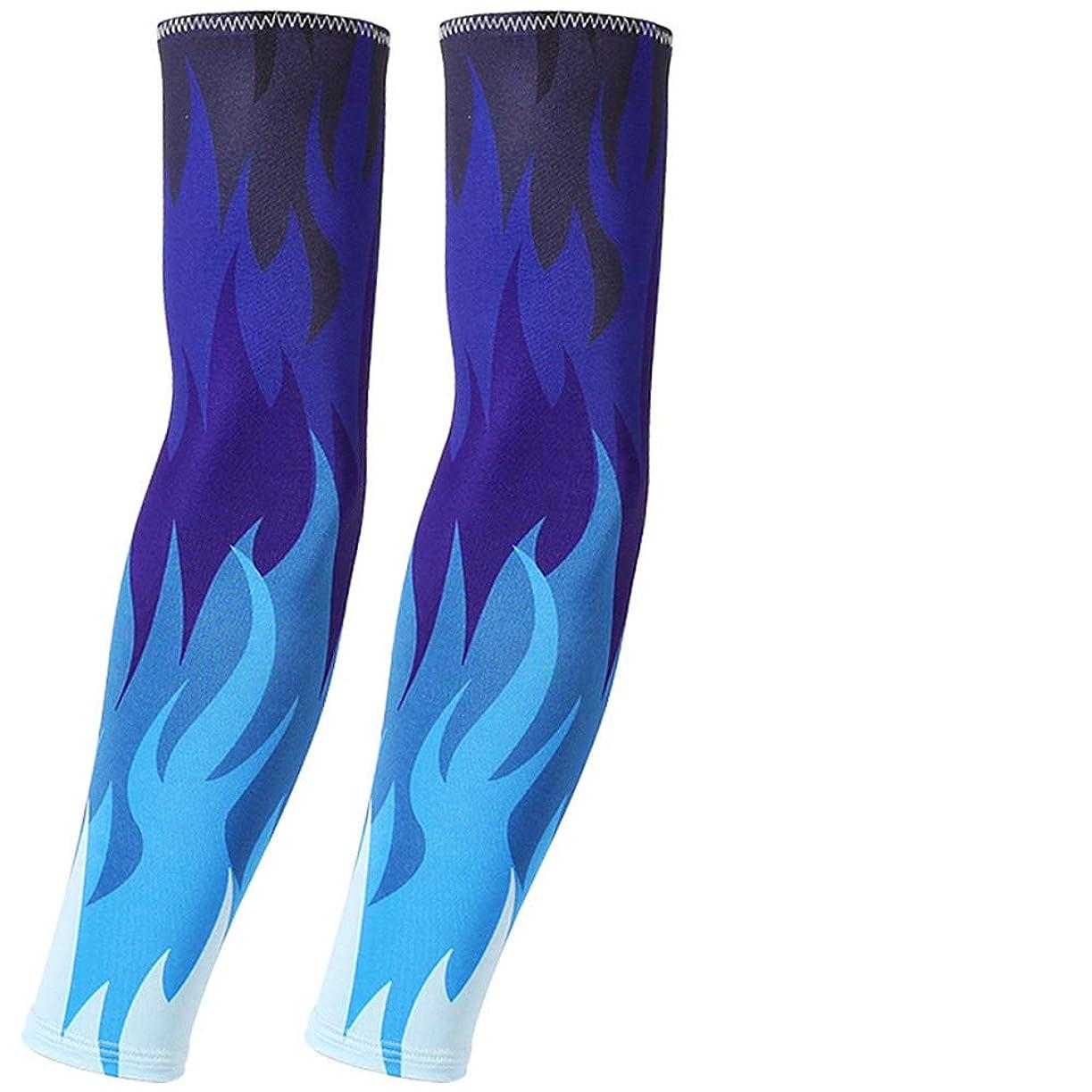 ジュース専門合図男性と女性のための腕の袖クールボディーアート偽の一時的な入れ墨アームスリーブサイクリングバスケットボールサンブロックスリーブレットスリーブ/ペア,Blue
