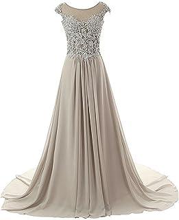 JAEDEN Prom Dresses Long Evening Gowns Lace Bridesmaid Dress Chiffon Prom Dress Cap Sleeve
