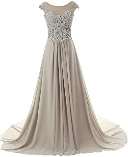 Prom Dress Long Formal Evening Gowns Lace Bridesmaid Dress Chiffon Prom Dresses Cap Sleeve