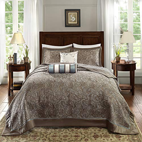 "Madison Park Quilt Traditional Jacquard Luxe Design All Season, Coverlet Bedspread Lightweight Bedding Set, Shams, Decorative Pillow, Oversized Queen(102""x118""), Aubrey, Paisley Blue, 5 Piece"