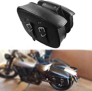 YHMTIVTU Motorcycle Saddlebag Waterproof Tool Bag Leather Travel Bag for Harley Sportster Honda Suzuki Yamaha BMW Black