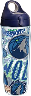 Tervis NBA Minnesota Timberwolves All Over Tumbler with Wrap and Navy with Gray Lid 24oz Water Bottle, Clear