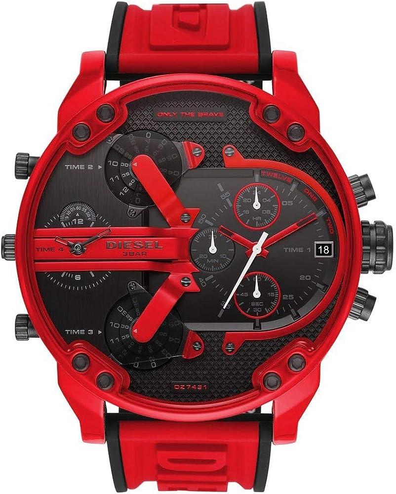 Diesel orologio cronografo da uomo con cassa  in acciaio inossidabile e cinturino in silicone DZ7431