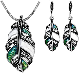 Feather Necklace and Earrings Jewelry Set