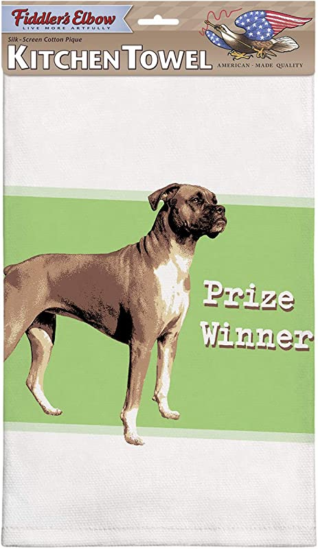 Fiddler S Elbow Prize Winner Boxer Kitchen Towel 100 Cotton Dog Themed Towel Eco Friendly Dish Towel With Hanging Loop Boxer Lover Gift