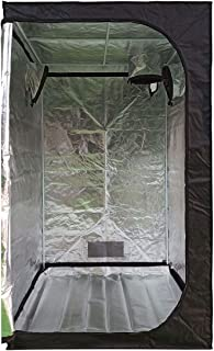 "Growtent Garden 48""x48""x80"" Reflective 600D Mylar Hydroponic Grow Tent Observation Window Floor Tray Indoor Plant Growing ..."