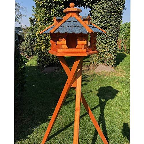 DARLUX Vogel Futter Haus L Futterstelle Sechseck aus Holz mit Ständer Braun/Blau