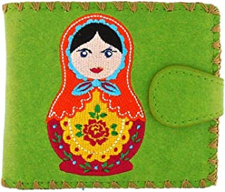 Embroidered Ukrainian Nested Doll Vegan/Faux Leather Bifold Medium Wallet