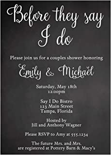 Couples Wedding Shower Invitations Chalkboard Co-ed Co Ed Coed Bridal Shower Invites Before They Say I Do Rehearsal White Chalk Calligraphy (10 Count)