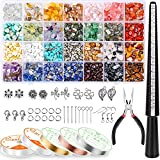 Ring Making Kit with 28 Colors Crystal Beads, Selizo 1660Pcs Crystal Jewelry Making Kit with...