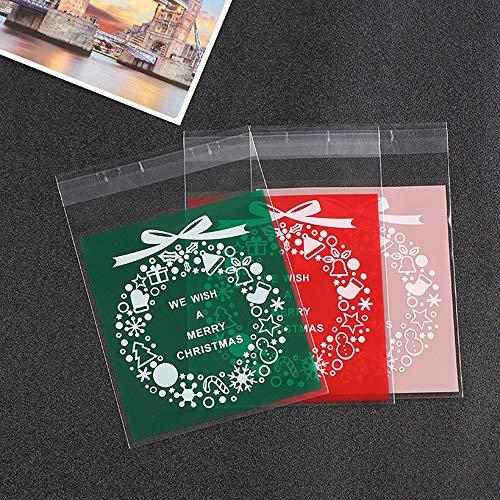 Minloor 300個 クリスマス用品 ギフトバッグ クリスマス カボチャDIY キャンディ/クッキー 袋 ビニール袋 お菓子 パッケージバッグ 誕生日 パーティー クラフト袋 クリアセロハンバッグ (ガーランド)赤青粉