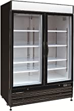 Chef's Exclusive CE326 Commercial 2 Hinged Swing Double Glass Door Refrigerated Merchandiser Cooler Showcase LED Lights 48 Cubic Feet 8 Adjustable Shelves Digital Controller Locks, 54 Inch Wide, Black