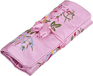 TUMBEELLUWA Jewelry Embroidery Travel Bag Roll Embroidered Flower and Bird Brocade Organizer with Tie Close, Pink
