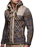 Leif Nelson Herren Strickjacke mit Kapuze Jacke Pullover Hoodie Sweatjacke Kapuzenpullover Pulli LN20525; XL, Braun
