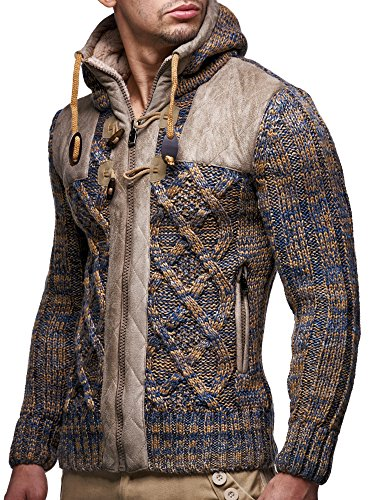 LEIF NELSON LN20525 Men's Knit Zip-up Jacket With Geometric Patterns and Leather Accents; Size US S, Brown