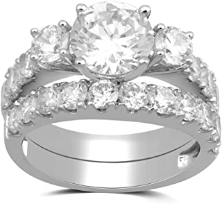 Sterling Silver Cubic Zirconia Round, 3-Stone Wedding Ring