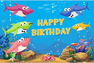 Yeele 5x3ft Cartoon Little Shark Backdrop for Photography Baby Happy Birthday Party Blue Ocean Undersea Photo Background Under The Water World Baby Party Decoration Banner Kid Photo Booth Props
