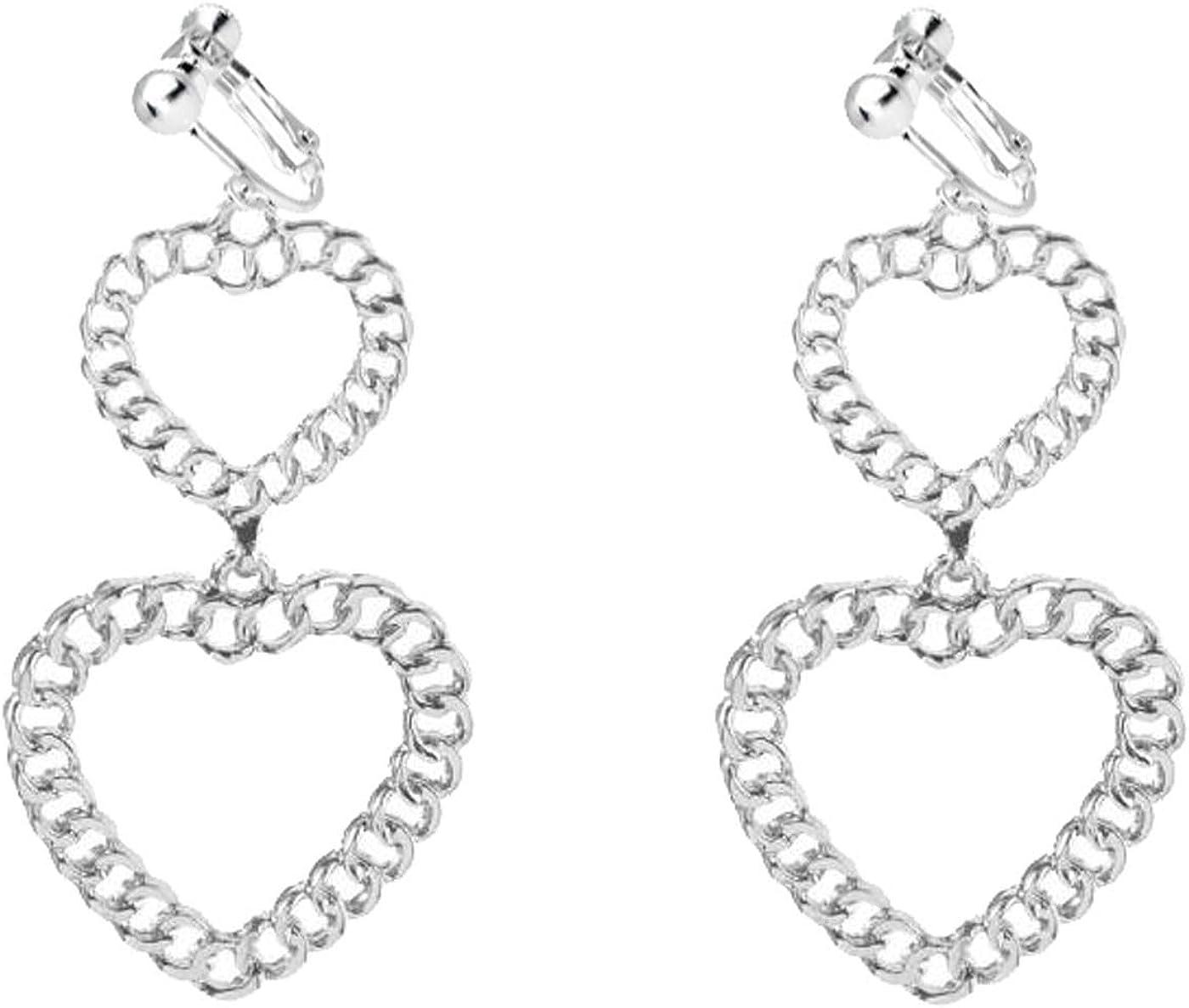 Vintage Statement Clip on Earrings for Women Girls Love Heart Earrings Long Chain Tassel Non Pierced
