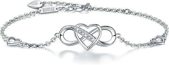 """Women 925 Sterling Silver Infinity Bracelet – Billie Bijoux """"Forever Love"""" Infinity Heart White Gold Plated Diamond Adjustable Bracelet Best Gift for Women Girls Mother's Day"""