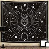 Sun Moon Tapestry Wall Hanging Stars Space Psychedelic Black and White Wall Tapestry Wall Tapestry for Bedroom Home Wall Décor (Mysterious Black, 60x80 Inches, 150x200 cm)