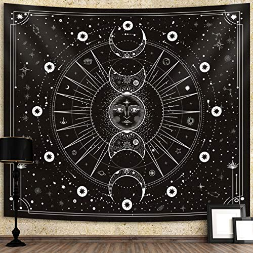 Sun Moon Tapestry Wall Hanging Stars Space Psychedelic Black and White Wall Tapestry Wall Tapestry for Bedroom Home Wall Décor (Mysterious Black, 51.2x59.1 Inches, 130x150 cm)
