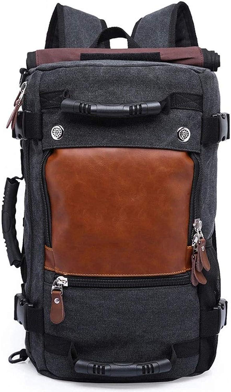 AmzGxp Groe kapazitt leinwand Rucksack multifunktionsrucksack mnnlichen Outdoor Reise wandern bergsteigenbeutel weibliche Schulter umhngetasche Handtasche Gemütlich (Farbe   schwarz)