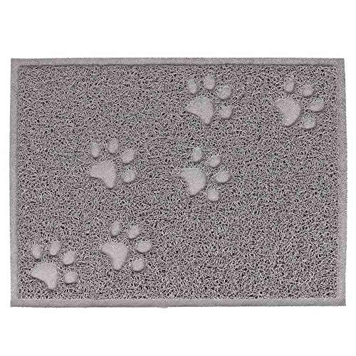 Gosear® PVC imperméable à l'eau Rectangle Patte Griffe Motif Chien Chat Aliments Bol Mat Cuisine Porte Plancher Mat Gris
