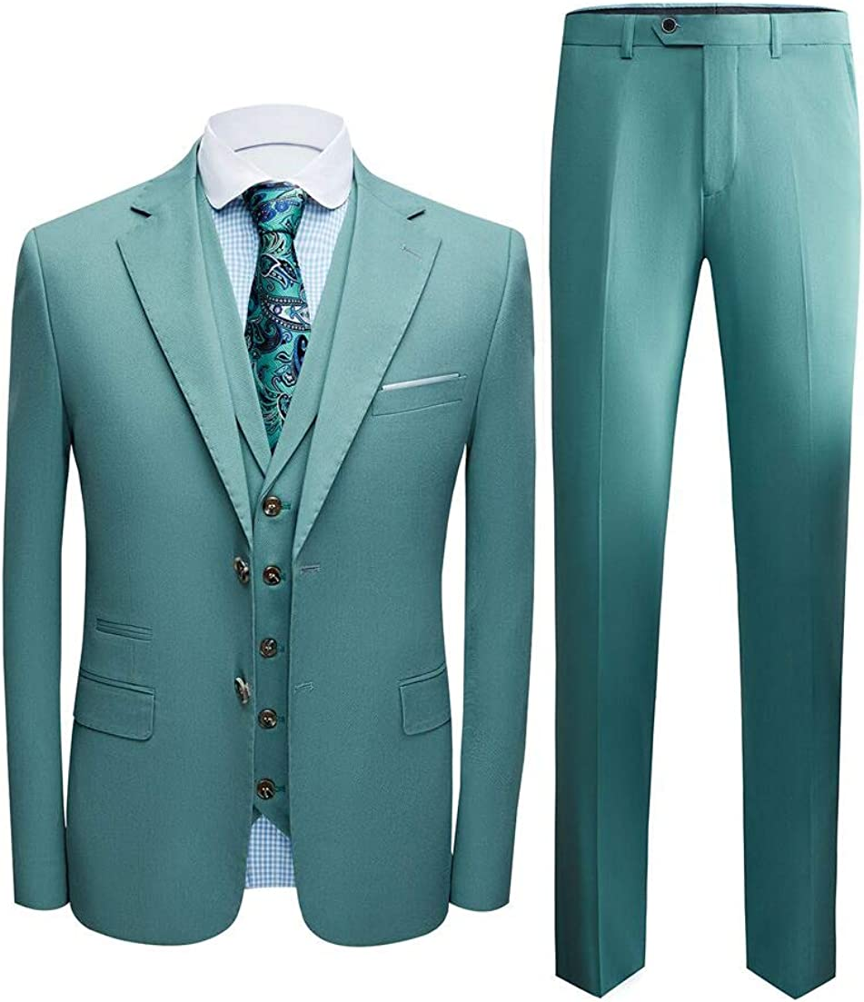 TOPG Men's Two Button Business 3 Pieces Suit Wedding Suits Groom Tuxedos