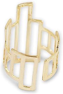 Karatcart Metal Gold Asymmetrical Geometrical Adjustable Ring for Women
