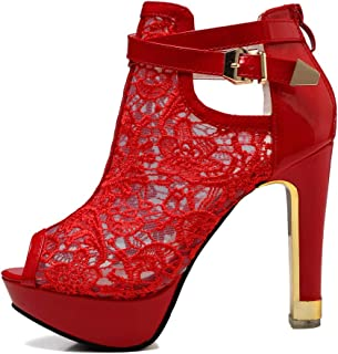 Women's Pretty Lace Flowers Open Toes High Heels Ankle Boots