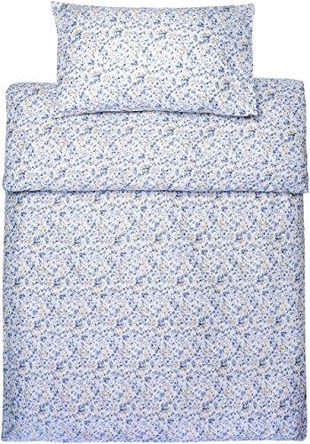 Amazon Basics - Bettwäsche-Set, Mikrofaser, 135 x 200 cm - Blau mit blumenmuster