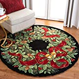Safavieh Vintage Poster Collection VP323A Hand-Hooked Black and Green Wool Round Area Rug, 5 feet in Diameter (5' Diameter)