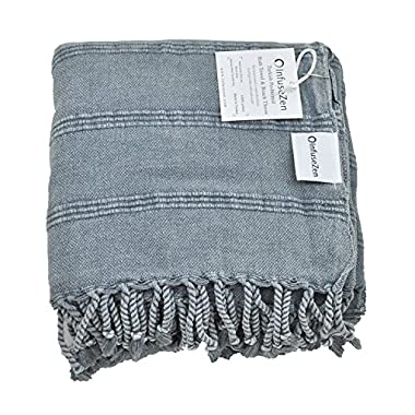 Stonewashed Turkish Towel, InfuseZen Unique Thin & Absorbent Bath Towel, Beach Towel and Pool Towel, Large Cotton Stone Washed Peshtemal Towels Weaved in Turkey, Hammam Spa Towels (Denim)