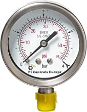 PI Controls UK Pressure Gauge, PG-63-R4-WF-SS