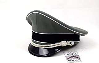 Replica WWII German Elite Whipcord Officer Hat Officer Cap W White Chin Pipe Silver Cord