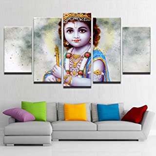 PEACOCK JEWELS [Large] Premium Quality Canvas Printed Wall Art Poster 5 Pieces / 5 Pannel Wall Decor Lord Bala Krishna Painting, Home Decor Pictures - Stretched