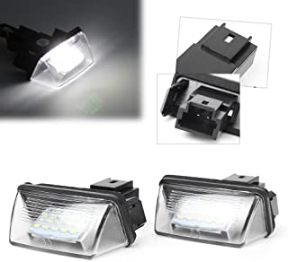 GZYF 2Pcs 8000K White 18-SMD LED License Plate Light Lamp Replacement for Peugeot 206