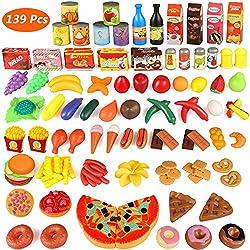 Küchenspielzeug, joylink 139 Teile Plastik Essen Spielzeug Obst Gemüse Ebensmittel Küche Kinder Pädagogisches Lernen Spielzeug Küchen Spielzeug Set Play Kinder Rollenspiele Spielzeug