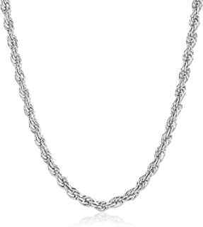 The Bling Factory 2.5mm Durable Stainless Steel Rounded Spiral Rope Chain Necklace + Microfiber Jewelry Polishing Cloth