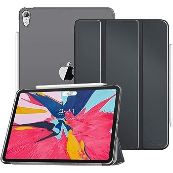 ATiC iPad Pro 11 ケース Apple New iPad Pro 11 2018タブレットカバー Apple Pencil収納 半透明 3つ折スタンド 磁気 ペンスロット付き オートスリープ機能 超薄型 軽量 タブレット保護ケース カバー SPACE GRAY