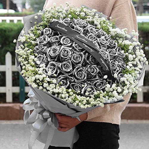 25 PCS Glitzer Rosen kunstblüten, Silber Schaumrosen mit Stiel, Künstliche Rosen für Valentinstag - Hochzeit Brautstrauß und Bankett Garten Party Hotel Büro Dekor (Silbermond)
