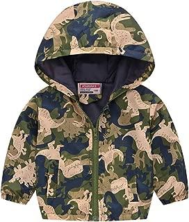TENMET Toddler Boys Girls Rain Jacket Cartoon Zip Hooded Windproof Raincoat