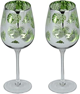 Artland Tropical Leaves Set of 2 Wine Prosecco Glass Glasses Goblet 450ml