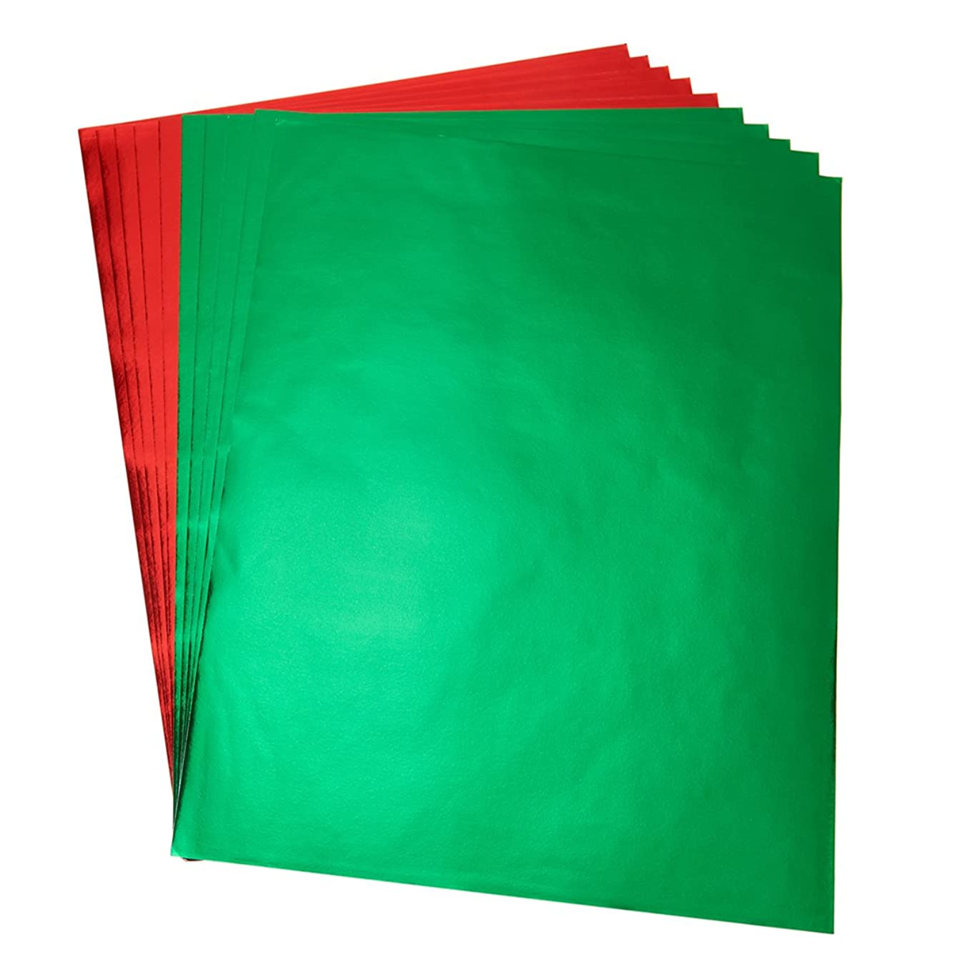 Hygloss Products Metallic Foil Paper Sheets ?– 10 x 13 Inches, Red and Green Sheets, 5 of Each Color