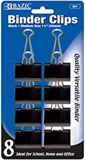 BAZIC متوسط 1 1/4 بوصة (32 مم) مشبك أسود (8 / حزمة) (علبة من 24 قطعة)