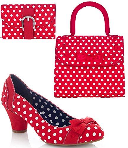 Ruby Shoo Hayley - Zapatos de tacón medio para mujer con bolsa Santiago a juego y bolso Garda, color Rojo, talla 36 EU