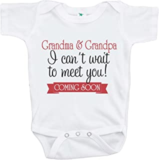 7 ate 9 Apparel Can't Wait to Meet Grandparents Pregnancy Announcement Onepiece Black