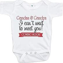 7 ate 9 Apparel Can't Wait to Meet Grandparents Pregnancy Announcement Onepiece Black