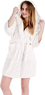 Dolcevida Womens Fleece Plush Spa Bathrobe Warm Hooded Short Kimono Robe for Women Young Girls